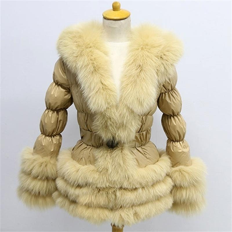 Free Shipping Factory Price Winter Down Coat New Europe Women Real Fox Fur With Puffer Jacket Y201026