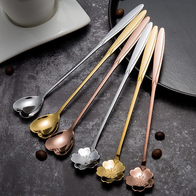 Maniglia in acciaio inox lungo forma di cuore Fiore cucchiai cocktail mescolando Cucchiaio gelato cucchiaio di caffè Home Bar Posate strumenti nave di goccia