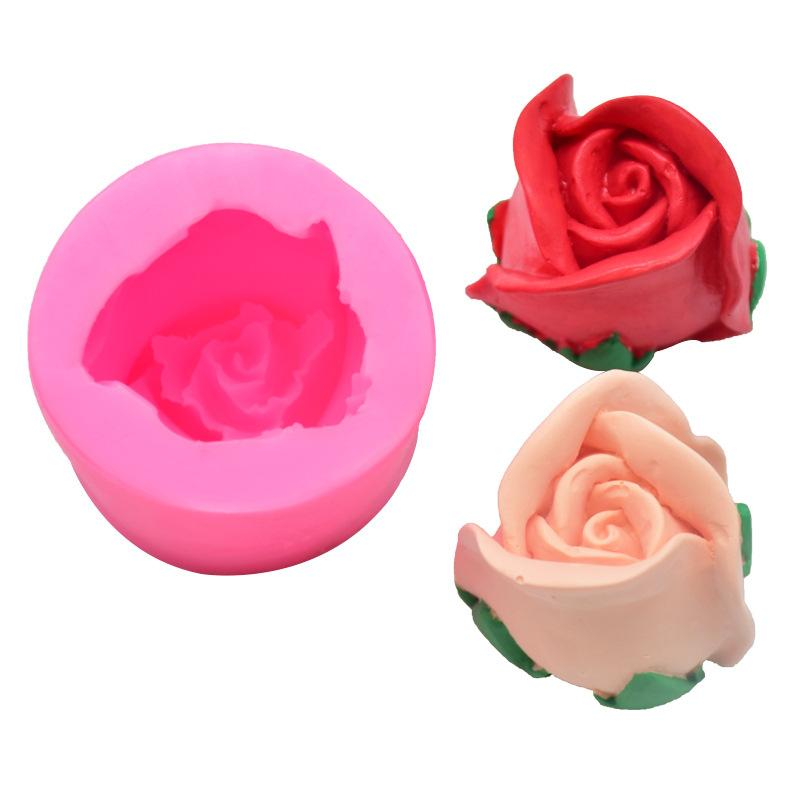 꽃 모델링 케이크 금형 순수한 색 DIY 베이킹 3D 3 차원 실리콘 장미 금형 주방 실용 가제트 6cka J2