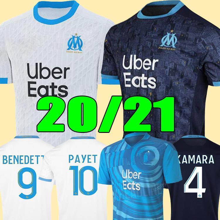 Olympique 드 마르세유 축구 유니폼 2020 2021 Om Marseille Maillot de Foot Payet Thauvin Benedetto Polo Jerseys 20 21 마르세이유 셔츠
