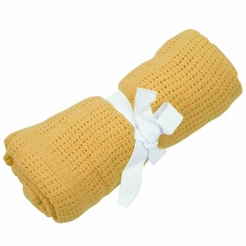 100% infantil Algodão Cellular macia Blanket Pram Cot Bed Musgos Basket Crib Cor: amarelo brilhante auAq #