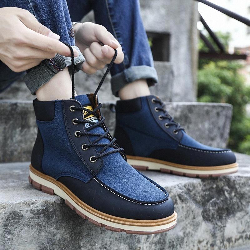 Autunno inverno stivali di vendita caldi per uomo scarpe da uomo higstiera da uomo grande taglia 45 46 scarpe casual industriali uomini stivaletti in pelle scamosciata uomo # VV2G