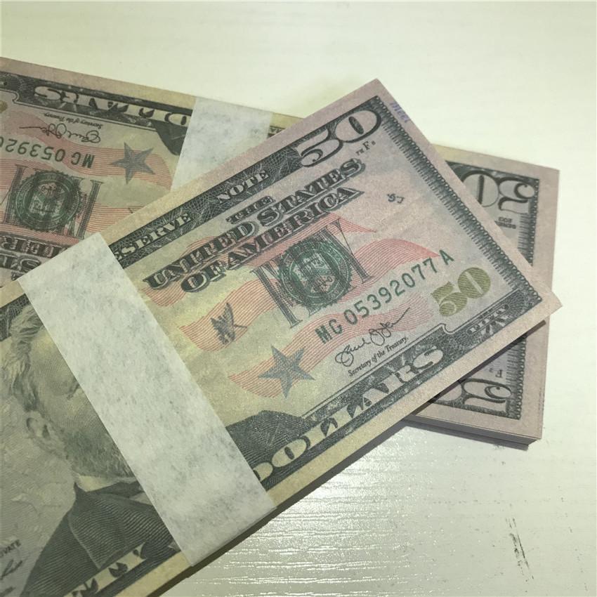 Papel de fiesta rápido 100 piezas / Paquete Prórminos al por mayor Props Atmósfera Americana Moneda Dollar Calidad Barra de envío Alto 50-5 Tomln