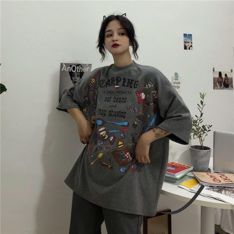 2021 Camiseta de manga corta Poja Femenina de manga corta para mujer Harajuku BF Wind Wild Top Tide