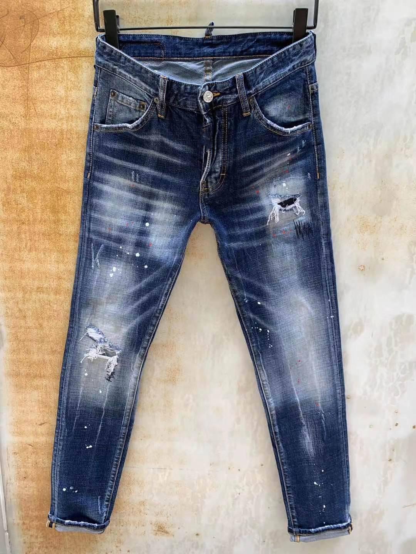 Modische europäische und amerikanische Männer Lässige Jeans in, hochgradige gewaschene, handgenutzte, enge zerrissene Motorrad Jean LT002
