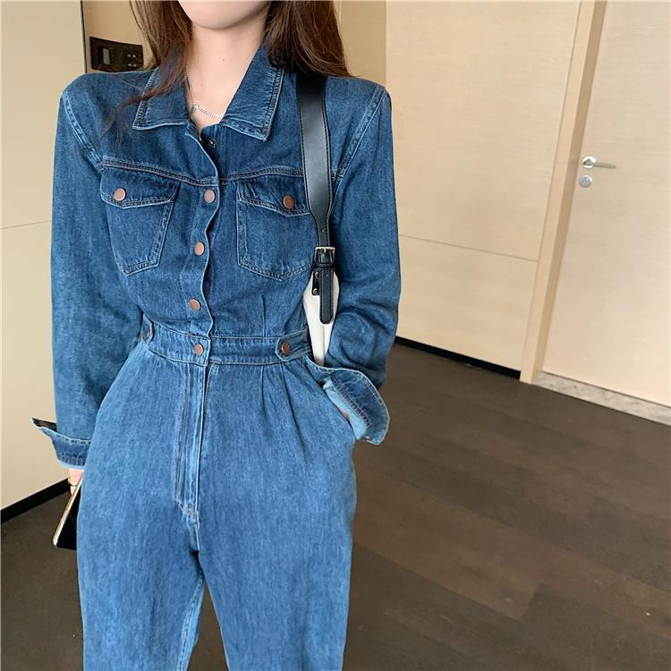 Nouveau mode Streetwear Denim Salopette Femmes 2020 Automne Col Tourner à manches longues de taille haute Jeans Combinaison barboteuses Jumpsuit