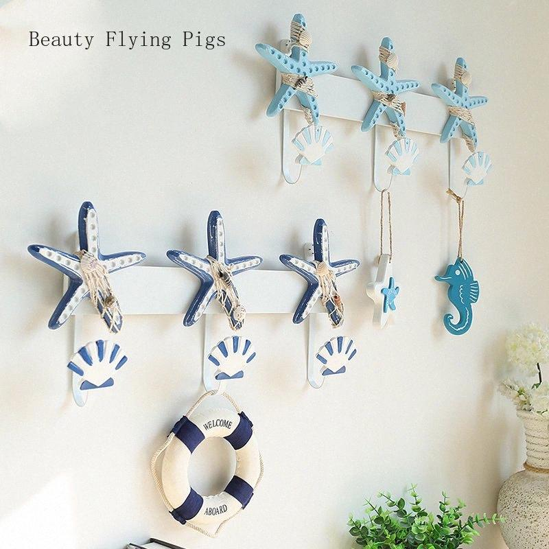 Creative starfish shell hook key frame decoration wall hanging door personality wall clothing store home decoration hook Jmcn#