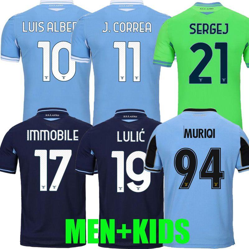 20 21 Lazio Soccer Jerseys بعيدا 4th 2020 2021 كرة القدم قمصان Luis Alberto Incobile Sergej Men Kids Kits Mailleot Maglia Da Calcio