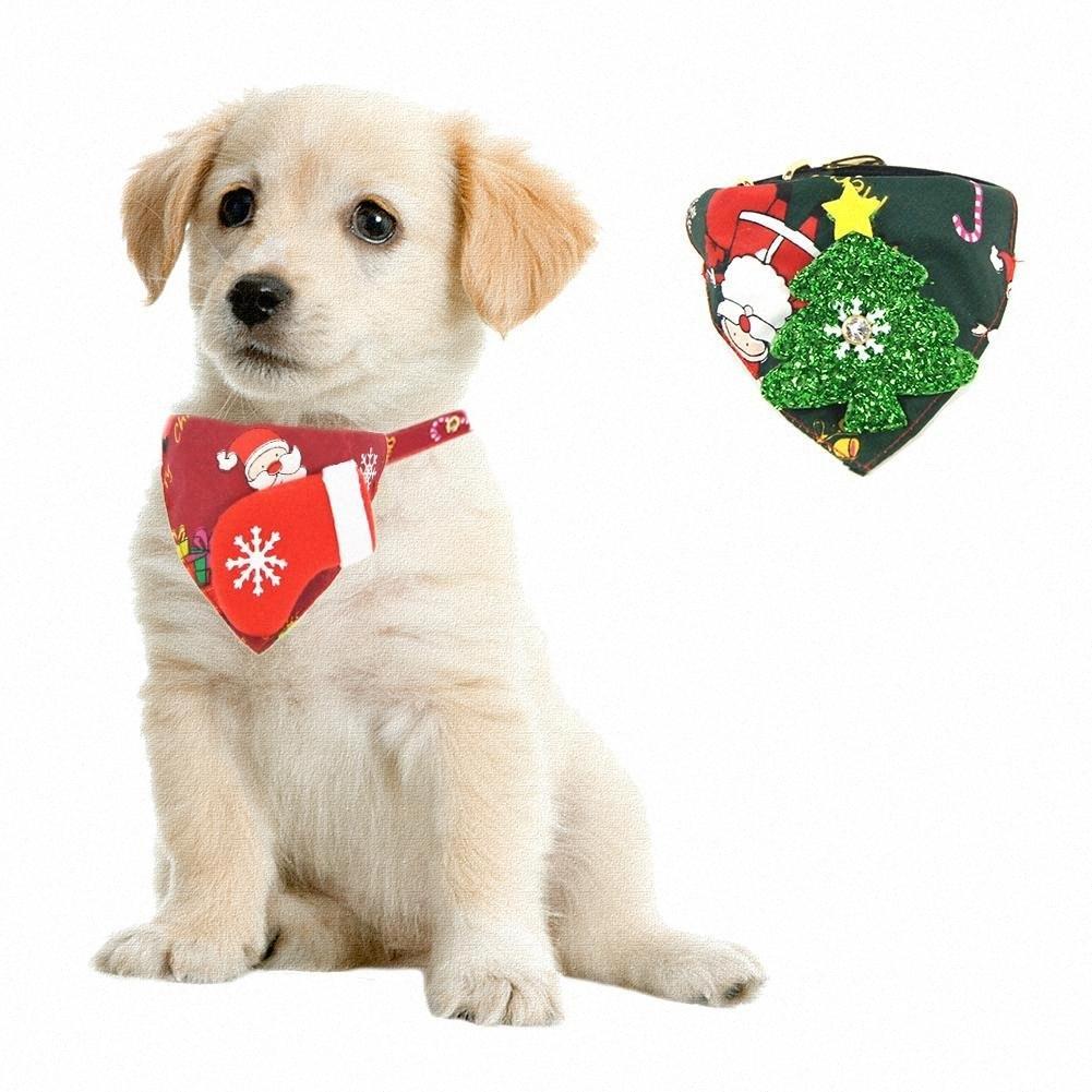 NEW Weihnachtshund Weihnachtsthema Dreieck-Schal-Kragen-Haustier-Schal Speichel-Tuch Kragen-Haustier-uEgQ #