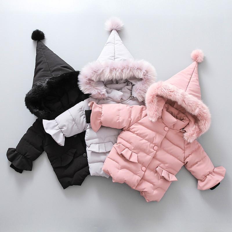 Chaquetas de la chaqueta de los bebés niñas para niños Moda abrigos cuello de la piel sólido capucha del invierno de ropa de la muchacha ropa infantil para niños 0930