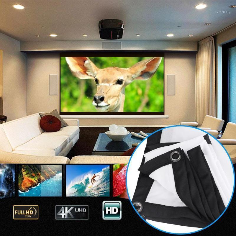Telas de projeção 16: 9 HD 3D Tela montada na parede 60/72/84/100/120 polegadas Projetor Fibra Cortina da Canvas para Home Theater1