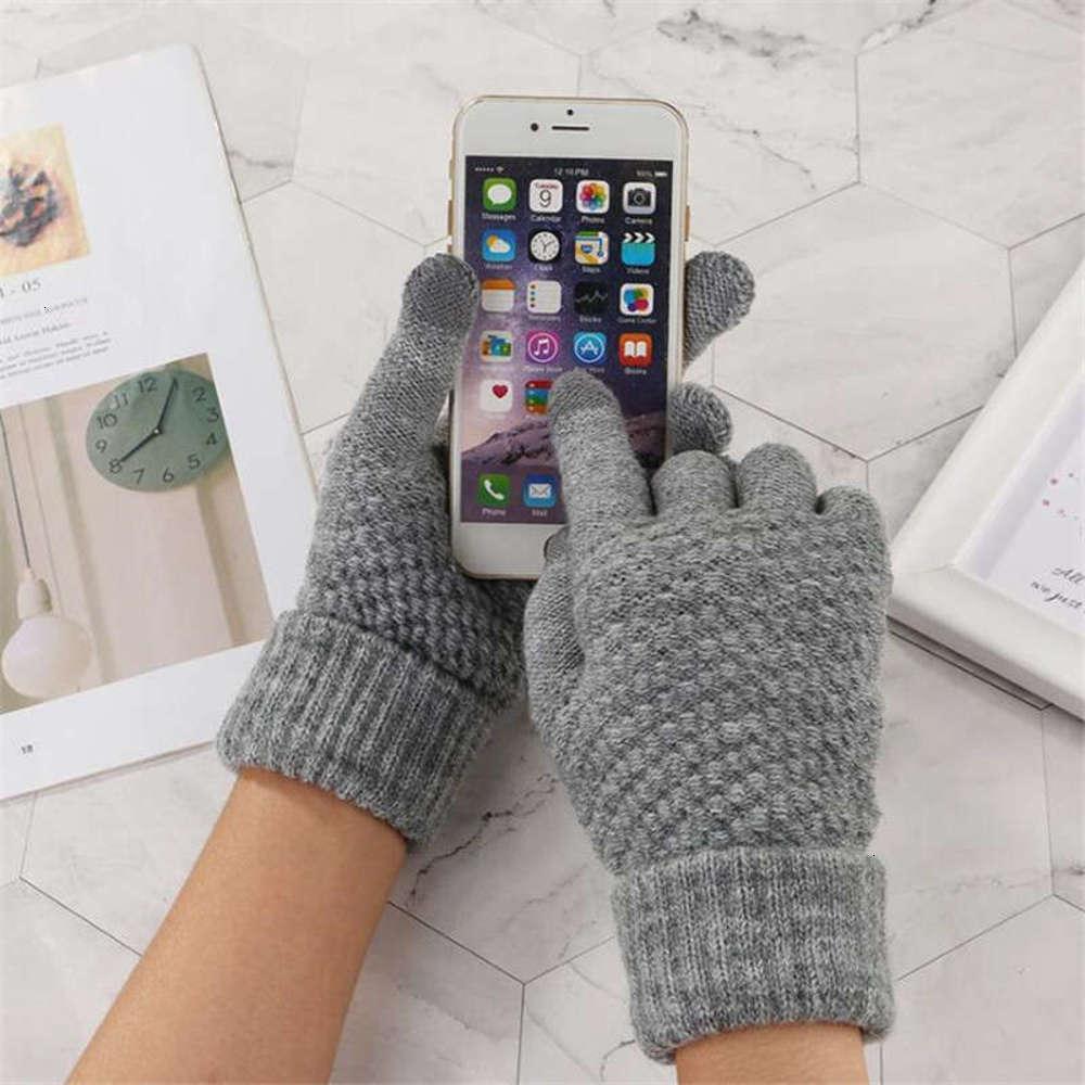 Warme Bildschirmhandschuhe Winter Frauen Touch Wolle Plüsch Verdickung Outdoor Koreanische Nette Weihnachten Plüsch Gestrickte Glavesnyc6