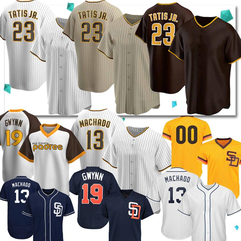 23 Fernando Tatis Jr.baseball jerseys Padres 13 Manny Machado 19 Tony Gwynn retro feito sob encomenda 2020 New Season Jersey