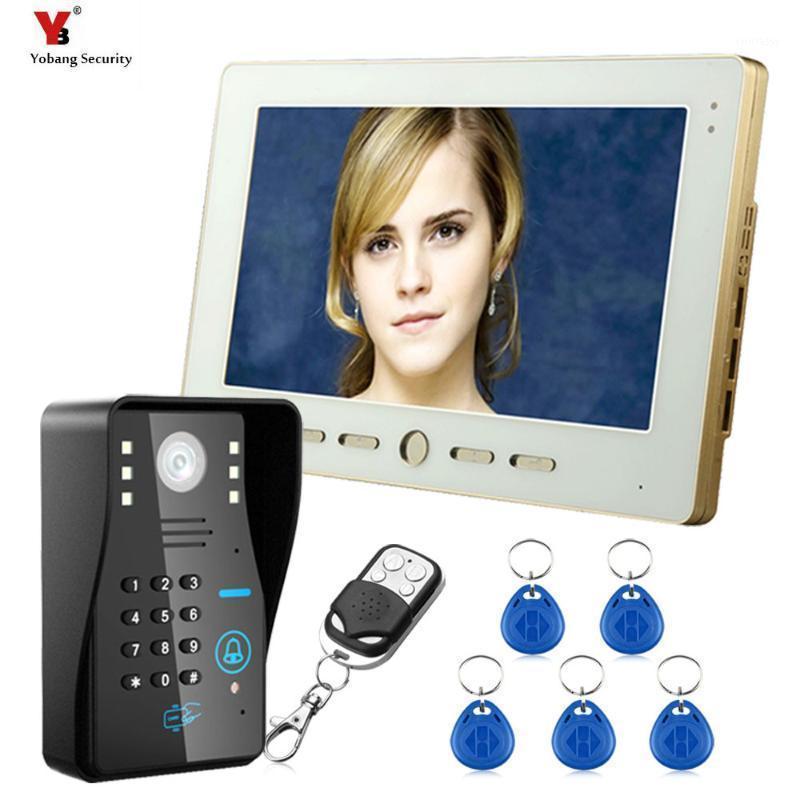 """Fones de porta de vídeo Yobang Security 10 """"TFT RFID Password Phone Doorbell Sistema de Intercomunicador com câmera IR 1000 Linha de TV Controle de acesso remoto"""