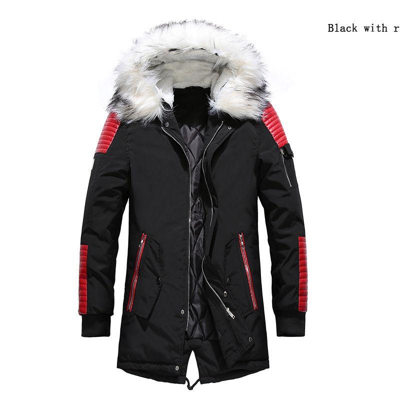 Männer 2020 dicker mit Kapuze Pelzkragen Mantel Baumwolle Casual Herren Warme Jacke