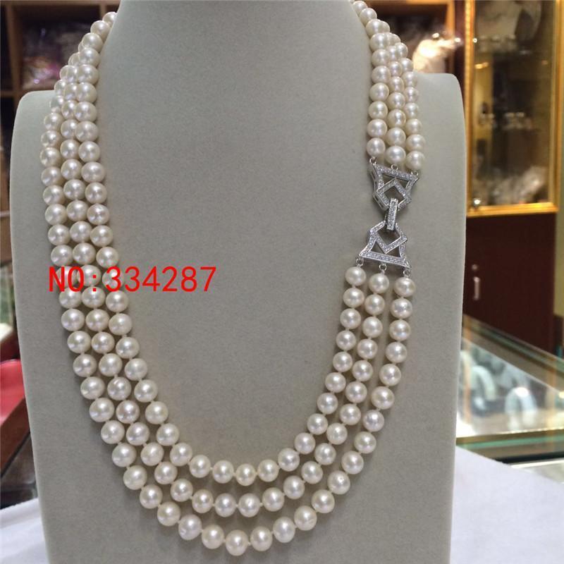 Elegantes hermosas Bababetty 3 filas 7-8m m de bodas redondo blanco collar de perlas niña regalo para las mujeres de ley - joyas