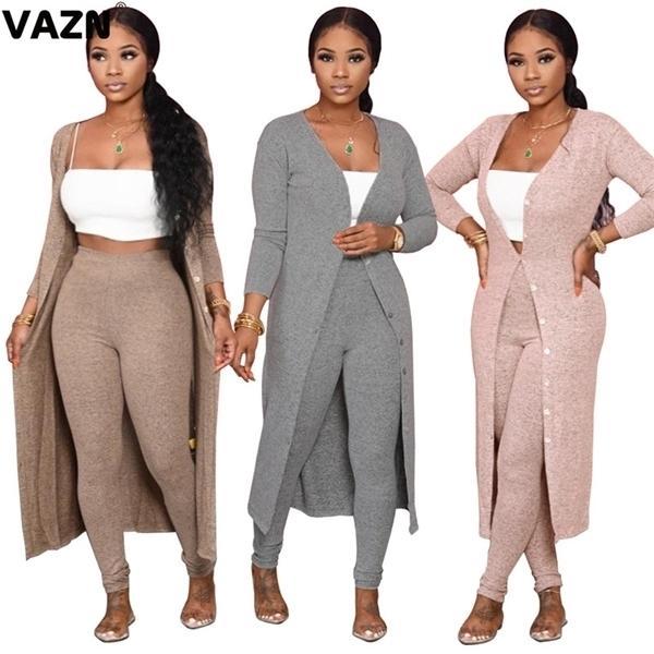 VAZN 2020 Automne Hot List haut de gamme Jeune Sexy doux solide pleine manches X-Long Tissu Groupe longues Pantalons Skinny femme 2 pièces de Set