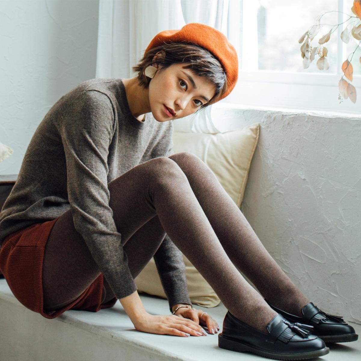Külotlu b Henny rue sonbahar Kauçuk lastik bant ve ayak ile yeni kenevir renk pamuklu basınç pantolon dibe pantyhosewinter külotlu çorap hejbF