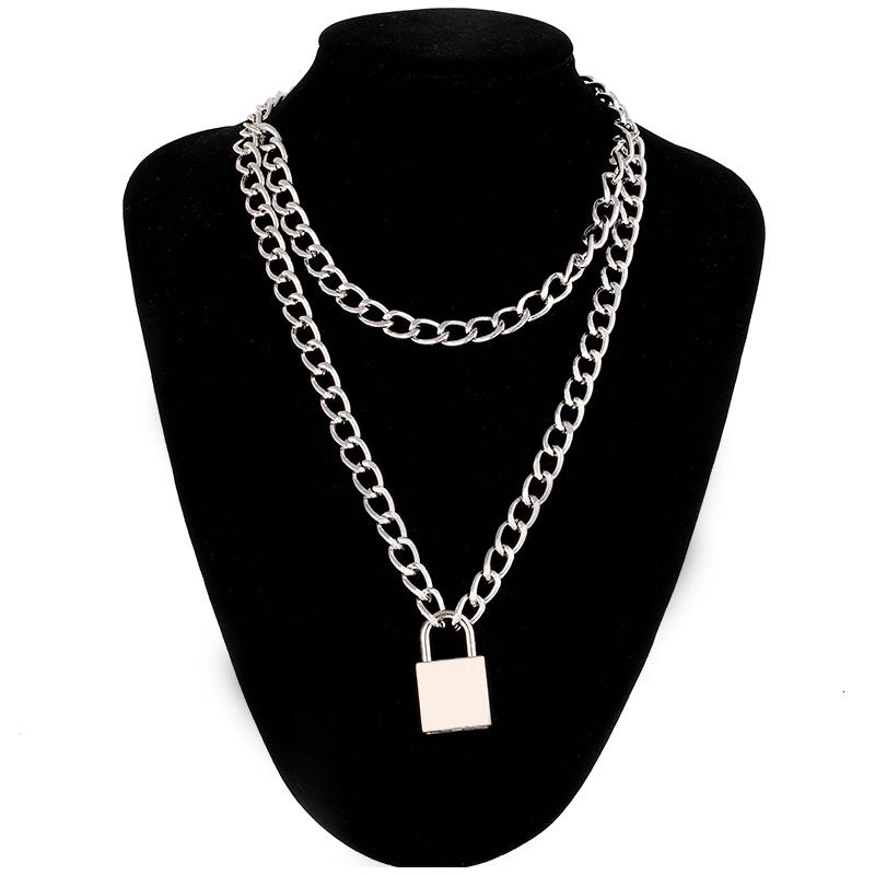 Панк ожерелье цепи с замком Женщины 90s EGirl Замок Подвески готический Эмо Grunge Эстетическая аксессуары ювелирные изделия на шее