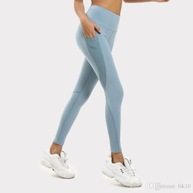 Kadın Örgü Dikiş Yüksek Bel Cep Yoga Pantolon Kalça Sıkı Spor Koşu Spor Pantolon KG-12