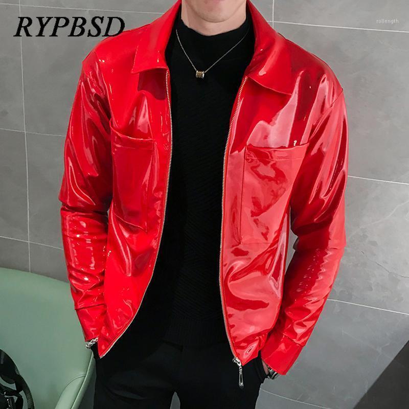 Chaqueta de cuero de piel sintética negra roja Hombres delgado PU Chaqueta de cuero moda Shinny Cumpleaños de la noche Party Moto Biker Hombres Outerwear1