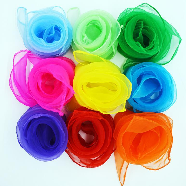 작은 정사각형 스카프 모방 실크 쉬폰 솔리드 컬러 댄스 새로운 캔디 색상 windproof 여성 키즈 스카프 20 색 60 * 60cm