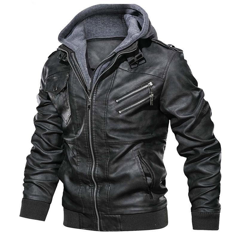 Dropshipping Oblique Fermeture à glissière Moto Marque Military Automne Hommes Cuir Cuir Vestes Manteau Européenne Taille S-XXXL