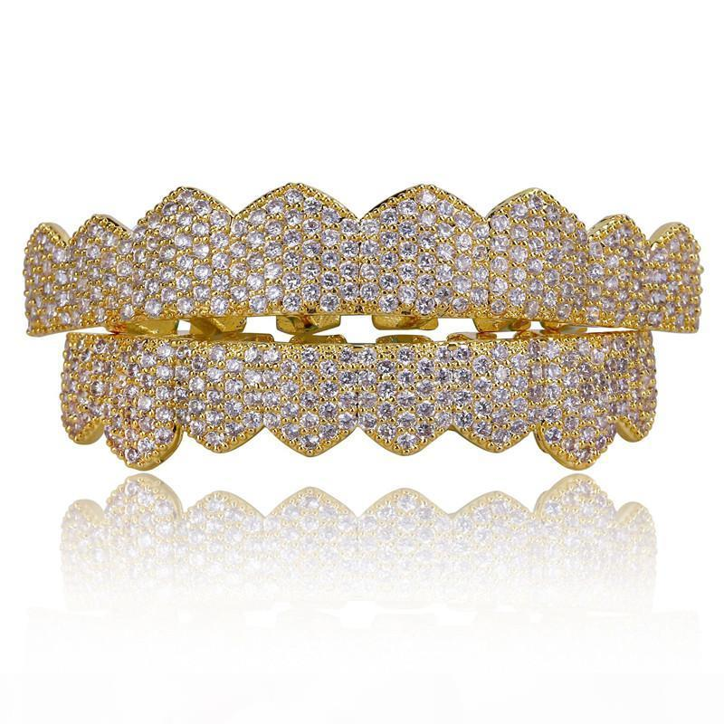 Micro Pave Zirkonia Silber Gold Farbe Zähne Grills Hiphop Rocker Halloween Iced Out Caps TopBottom Fang Grills Set Bling Teeth