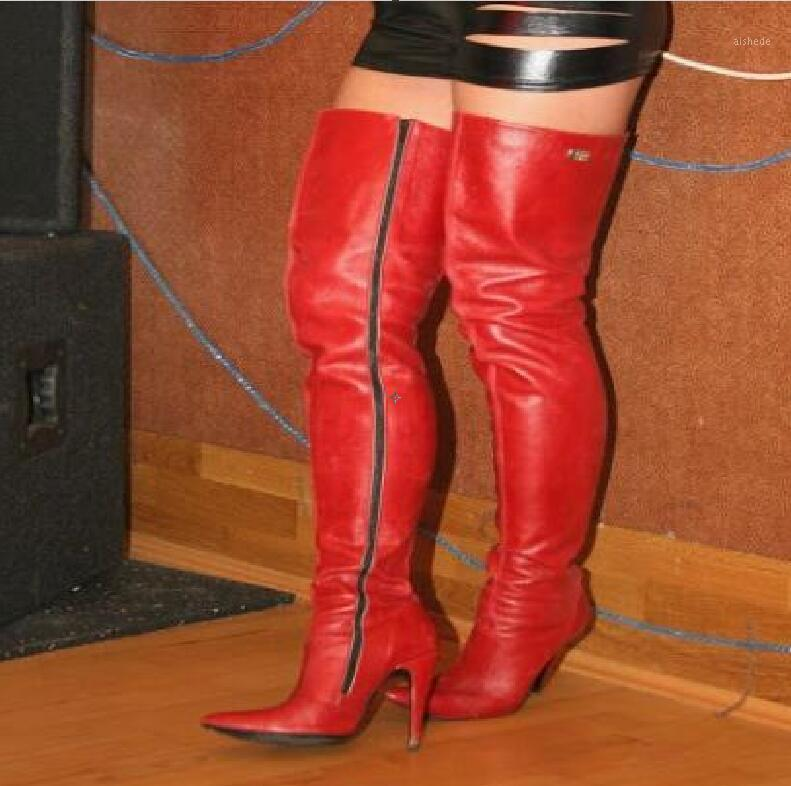 Chaud Sexy Mode Rouge PU sur -Le genouillère Zip pointu poing Toe Talons minces Chaussures Femmes Chaussures Femme Big Taille Chaussure de danse Chaussure Femme Boots1