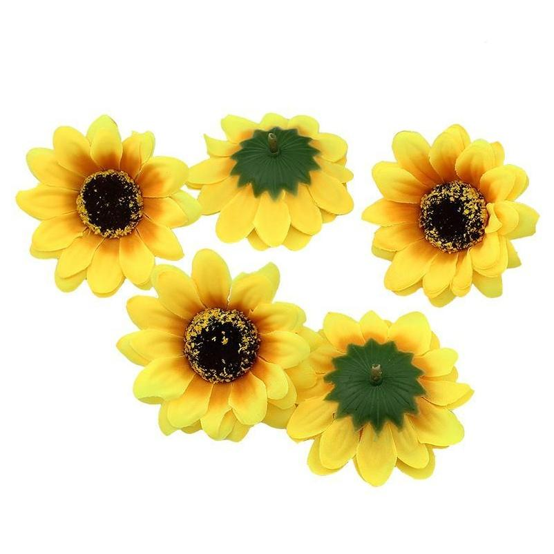 High Quality 7cm Silk Sunflower Artificial Flower Heads Wedding Diy Wreath Hair Fake Flowers Decor jllaiM insyard