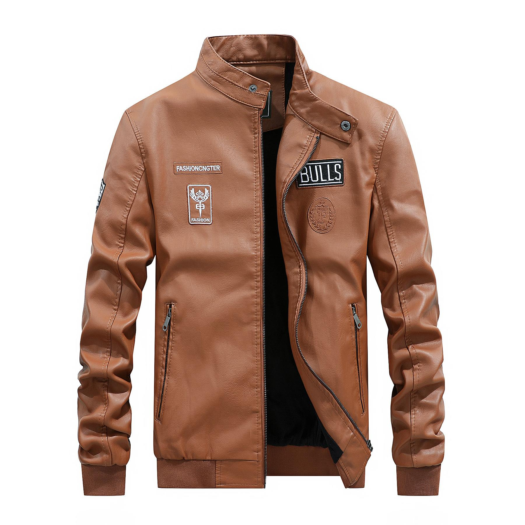 2021 A nova nova moda masculina no peito grande bolsos de couro marrom jaqueta 4A24