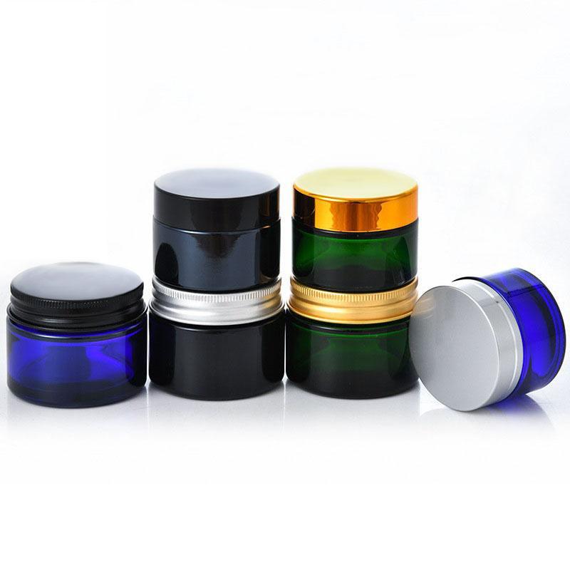 Verre de bouteilles de crème de cosmétiques avec de l'aluminium / couvercles en plastique de couleur noir / bleu / vert 20g 30g 50g