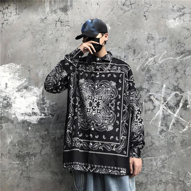 C1114 tshirt Japon Streetwear Baskı Gömlek En Mens Uzun Kollu Paisley Bandana Bluz Casual Gömlek Erkek Punk Tarzı