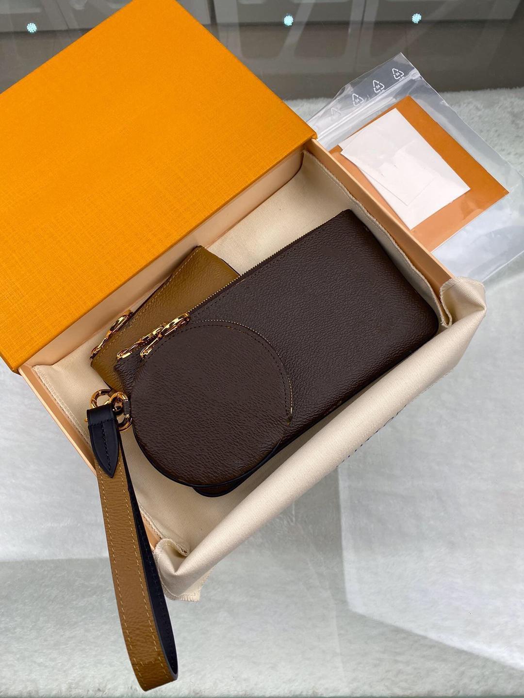 M68756 Big Key Kupplung Taschen Mode Handtasche Taschen Code Geldbörse Frauen Brief Karteninhaber Blume Trio Pouch Datum Ruqij