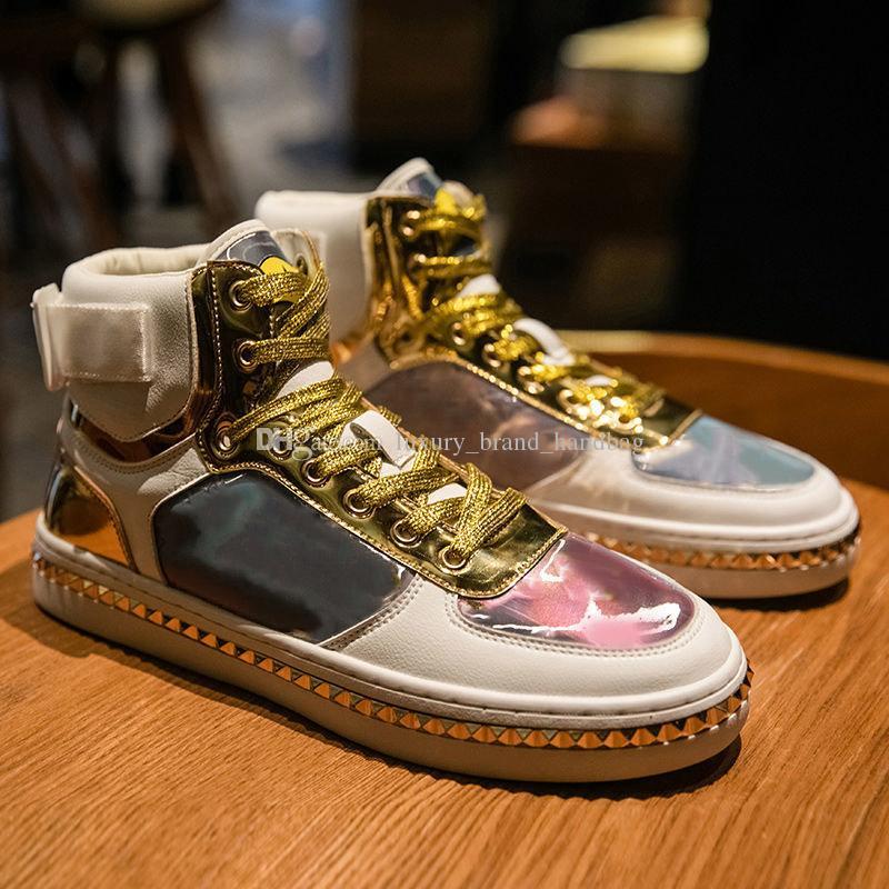 2020 ماركة أزياء الفاخرة مصمم الأحذية الخريف الشتاء الرجال أحذية عارضة أحذية الرجال النساء عالية قدم الرجال جلد أبيض اللون عاكس بو