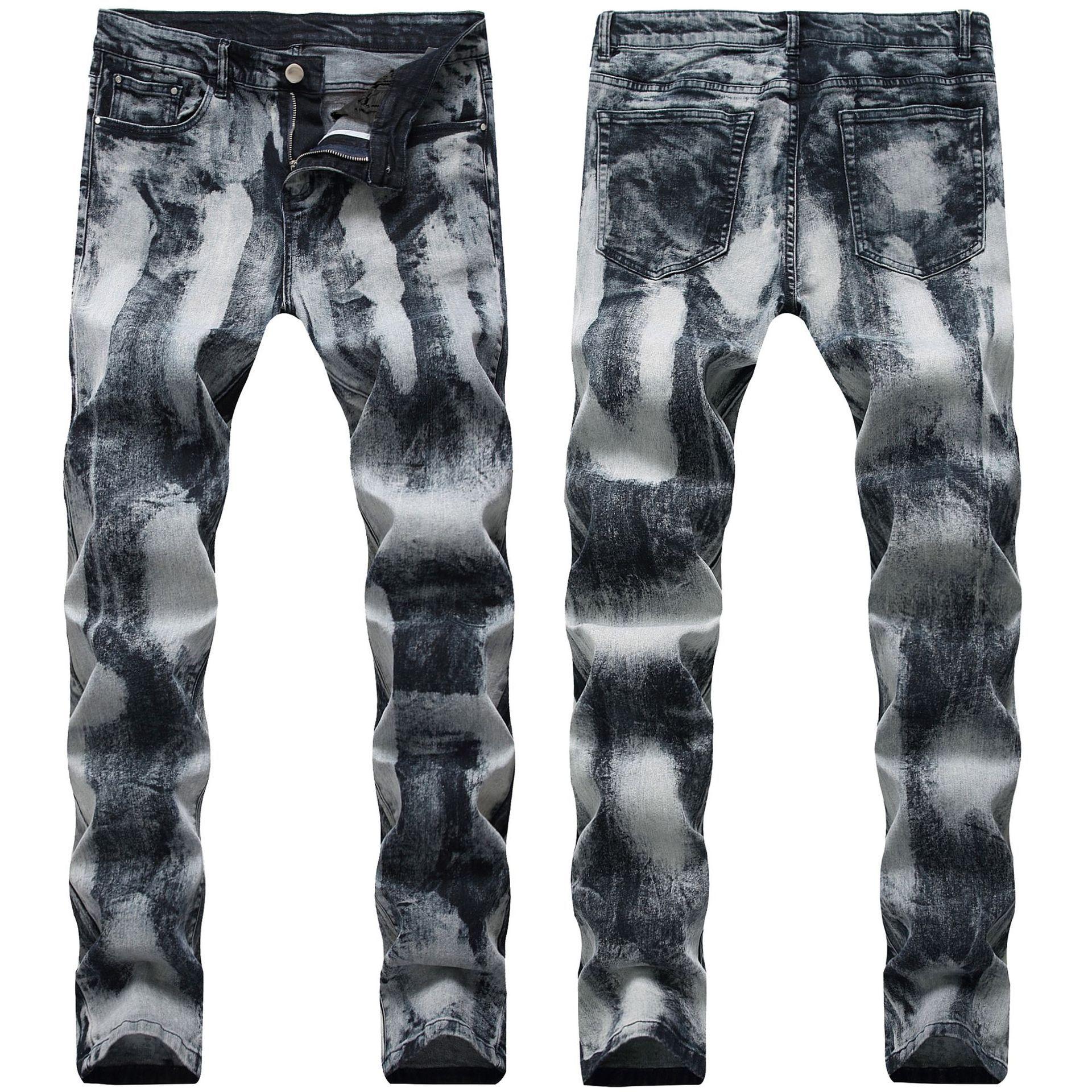Manera- 21 Estilos Jeans para hombre Pantalones Pliegue motocicleta derecha Slim Fit Europa y América del agujero rasgado lavada Moda Pantalones Lápiz Pantalones St