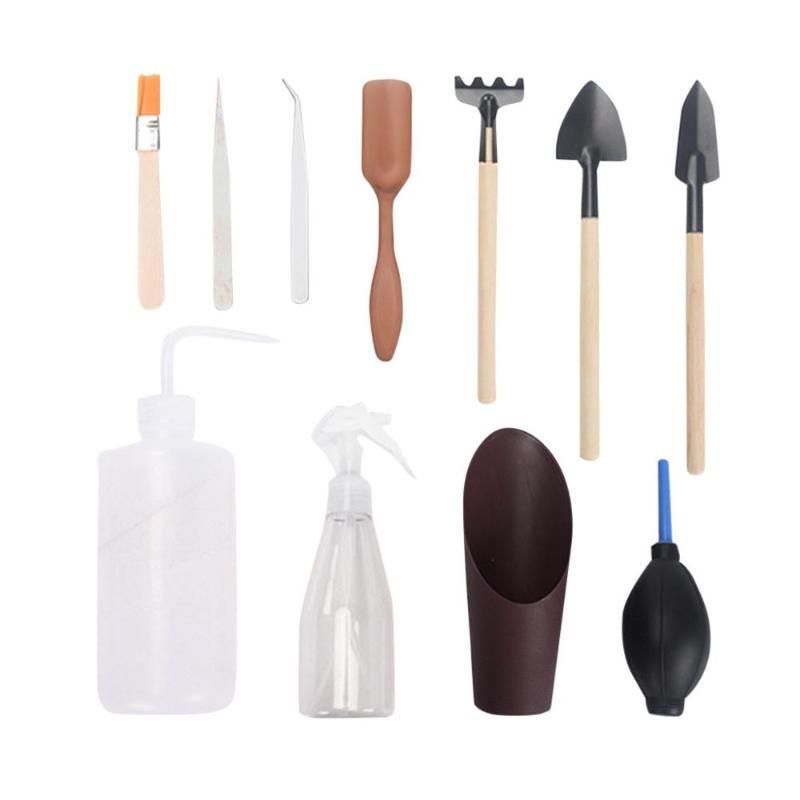 11 pieces Mini Gardening Hand Tools Set Succulent Plants Kettle Transplant Miniature Immortal Garden Planting Hand Tools Set 5pz