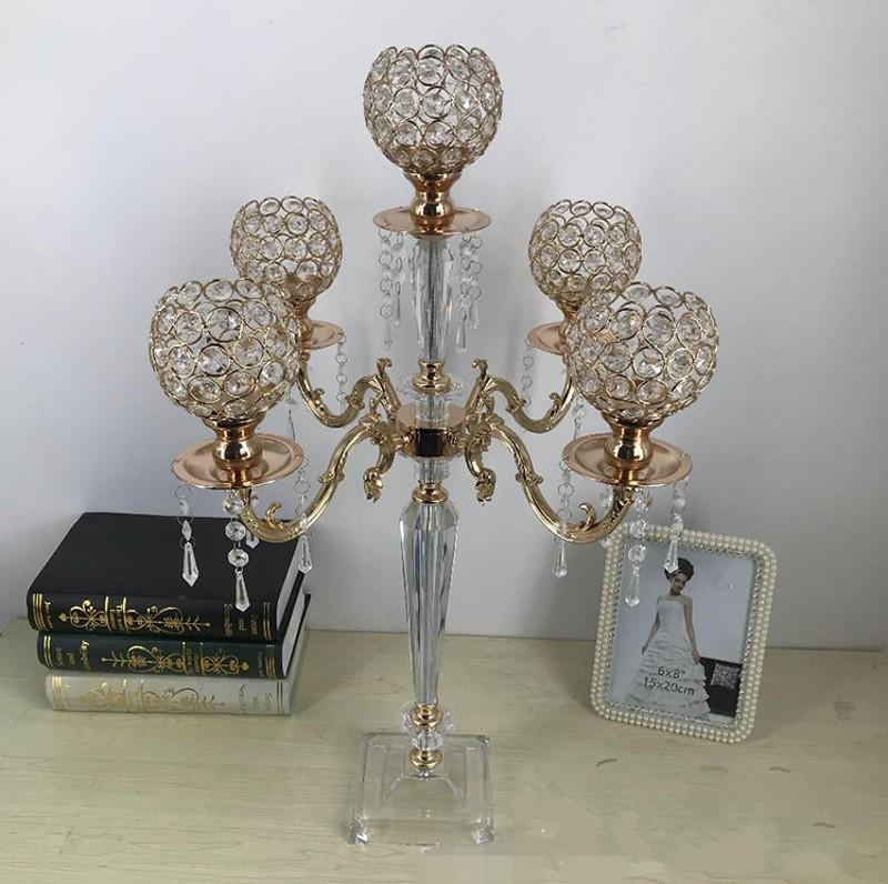 70CM 5 Arms Acrylic Candelabras Metal Candle Holders With Crystal Pendants Wedding Table Event Centerpiece