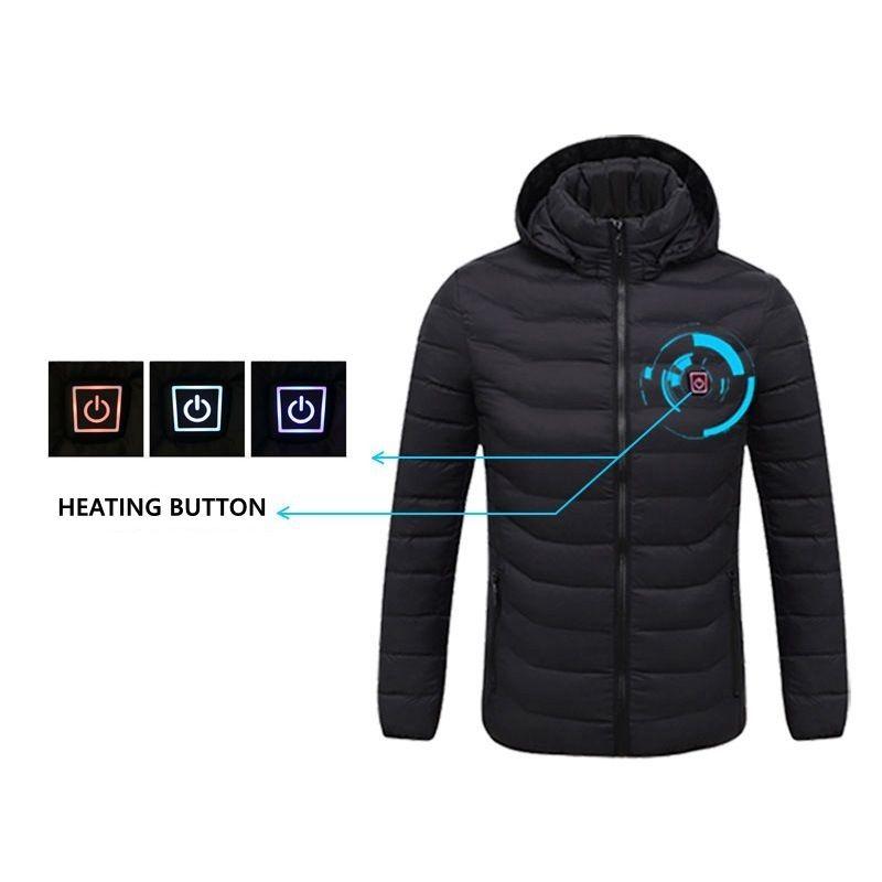 NWE Erkekler Kış Sıcak USB Isıtma Ceketler Akıllı Termostat Saf Renk Kapşonlu Isıtmalı Giyim su geçirmez Sıcak ceketler 201013