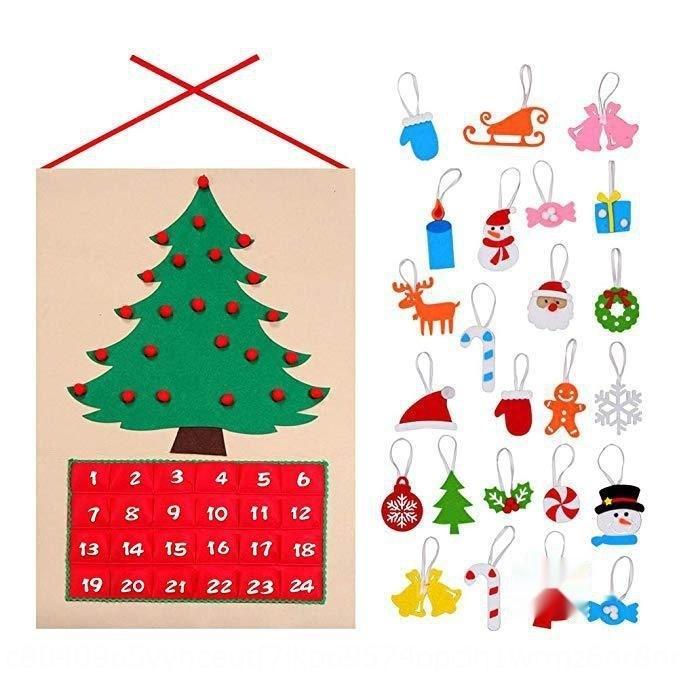 Feutre Noël cadeau décoration non-tissé partie Diy feutre cadeau pour les enfants Calendrier de l'Avent de non tissé bricolage ksnw5