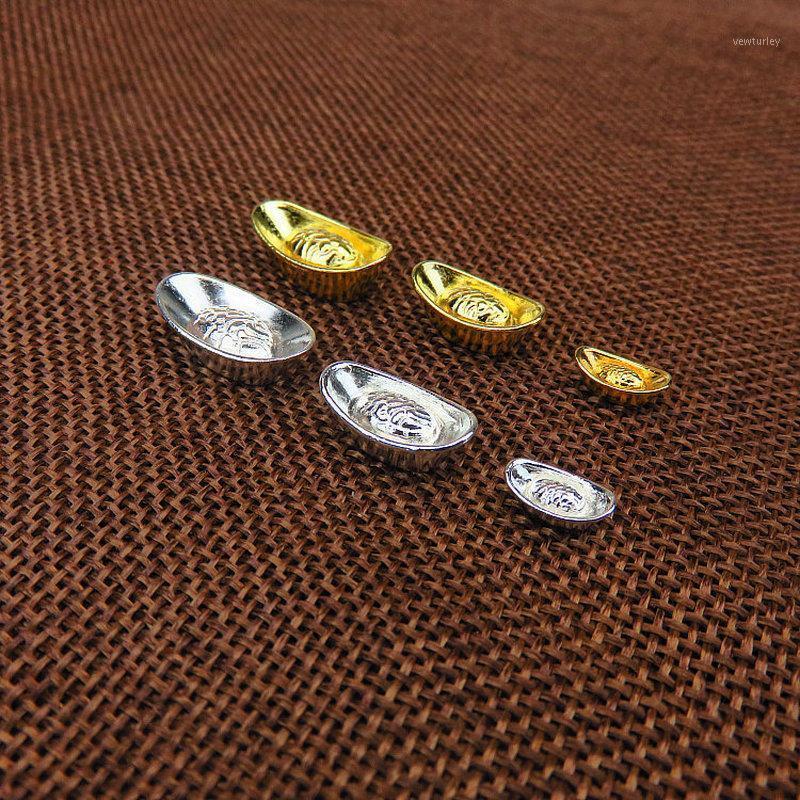 Декоративные объекты фигурки 10 шт. / Комплект Китайский золотой серебряный слиток орнамент Lucky Yuanbao FENGSHUI декор талисман металлические ремесла Feng Shui Auspi