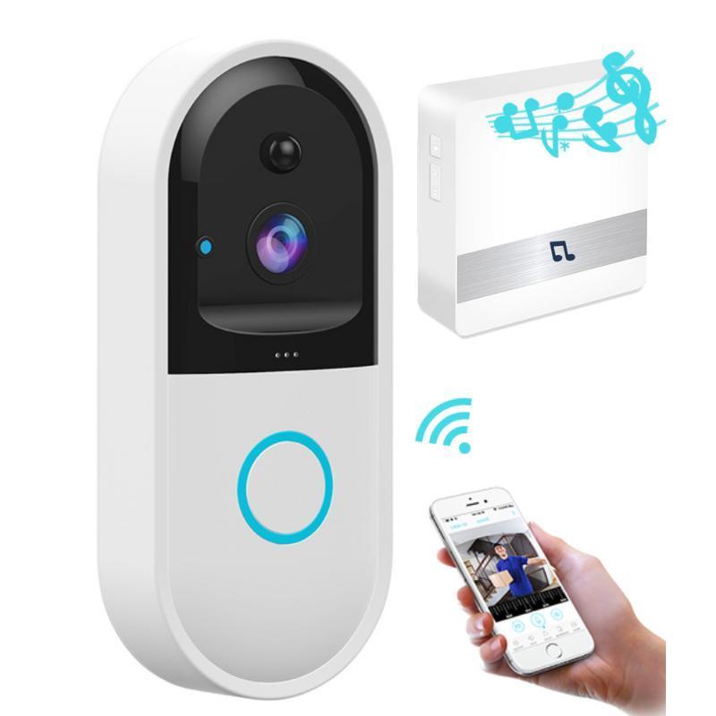 Türklingelaufladbare Batterie 720P Wireless WiFi-Video-Türglocke mit PIR-Bewegungserkennung und IR-Alarm