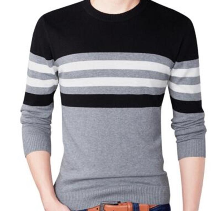 Hommes automne Fashion Casual Sweathed Pull Sweater Hommes O-Cou Touchage 100% coton Pulls tricotés de coton Hommes Plus Taille Sweaters Manteau 201105