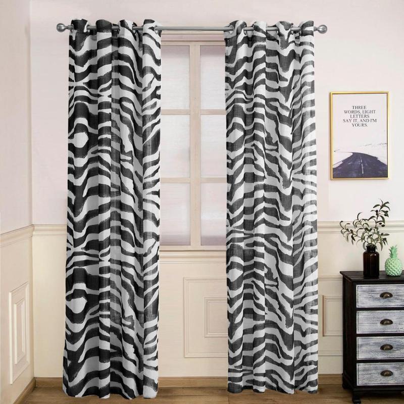 Imitación Ropa de cama Cortinas de decoración impresas Dormitorio Sombreado Terminado Cortina Blanco y negro Zebra Rayas Cortina Hecho a medida