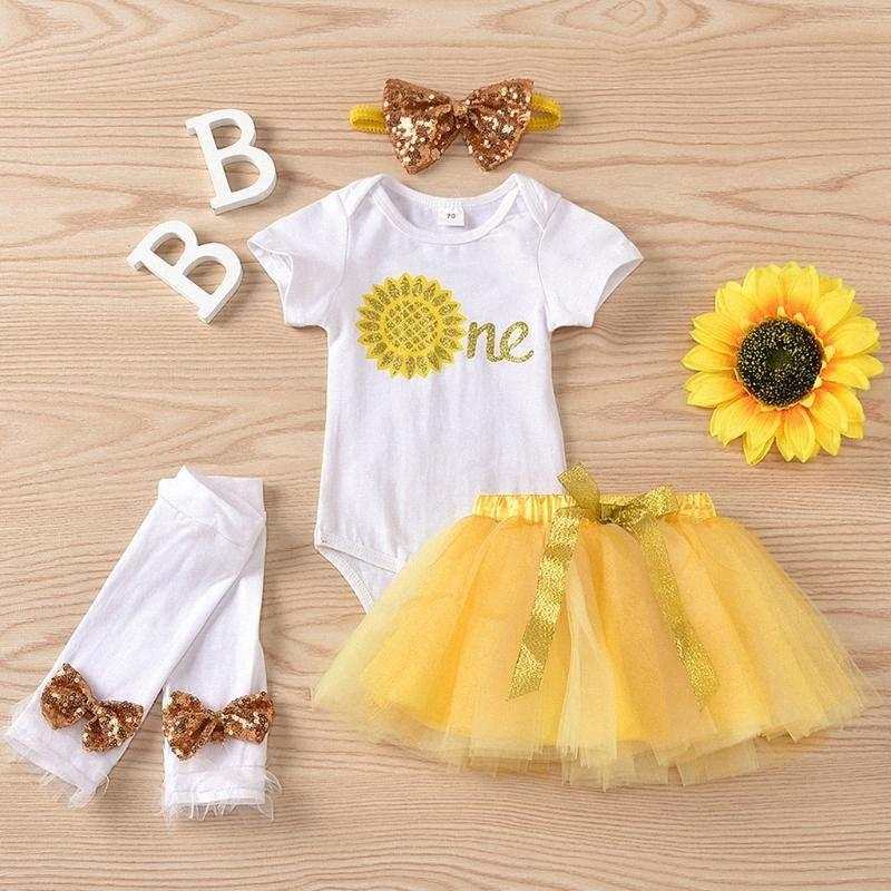 baby girl clothes Toddler Kid Summer Sunflowers Romper Tops Tulle Skirt Princess Set baby clothes girl ropa niña xF02#