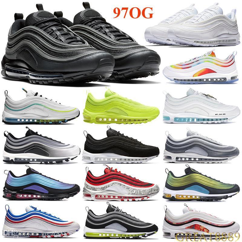 في جميع أنحاء العالم 97OG الرجال النساء وسادة الاحذية PRM ثلاثية أسود أبيض فولت احذية LX أنثراسايت أماريلو اليابان OG في الهواء الطلق المدربين علامة