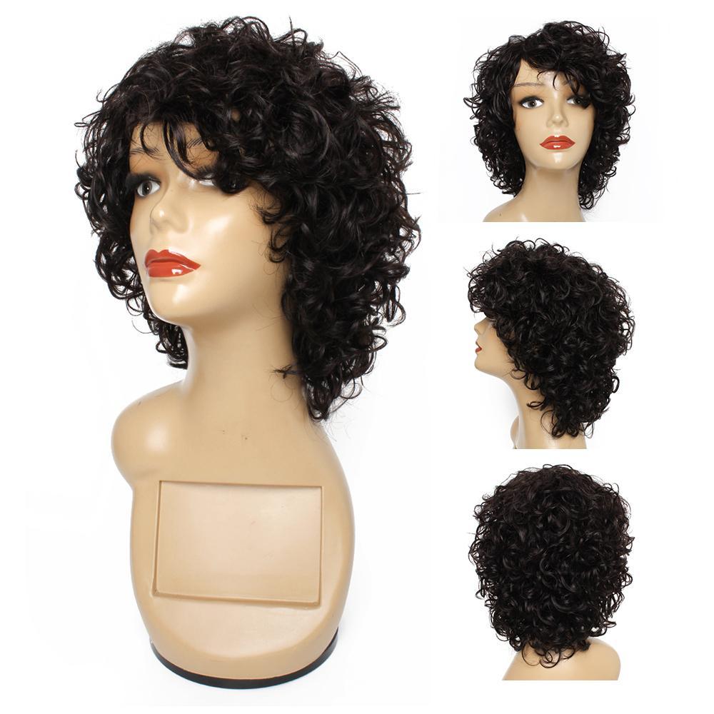 KISSHAIR 자연 색상 물결 모양의 머리카락 캡 플라스 가발 브라질 인간의 머리 가발 검은 비 레미 가득 찬 여성은 여성을위한 딱지없는 가발을 만들었습니다.