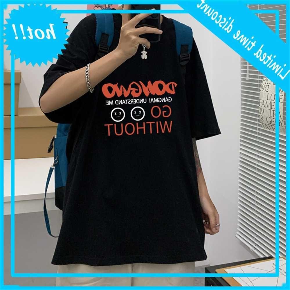 Lettre imprimée courte t-shirt mode coréen vêtements polyvalents d'été jeunes vêtements déconnectés déconnectés occasionnels vêtements pour hommes