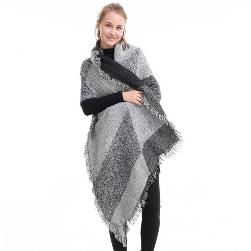 Новая мода женщина шарфа шерсти шали скос Cardigans Wanrm Вязаная пашмины Крупногабаритные Одеяло Мысы шарфов