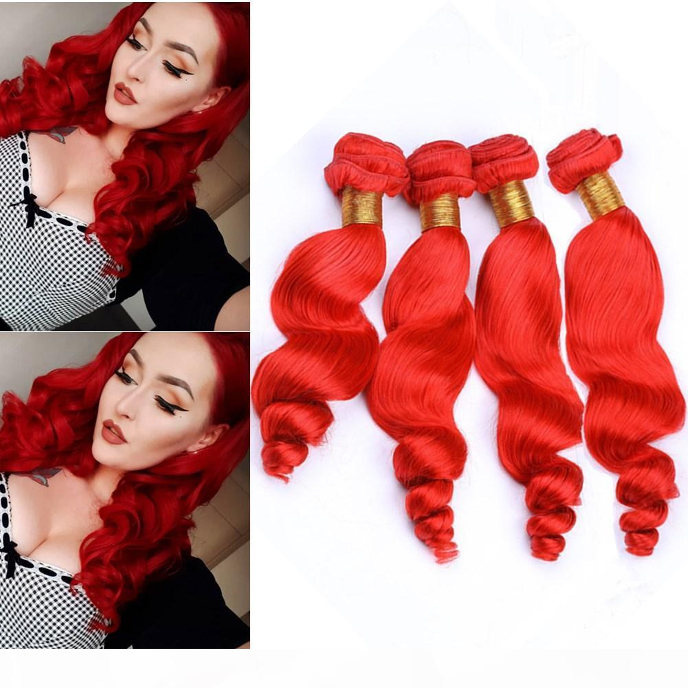 "Pure Red Loose Wave Brazilian Human Hair 4Bundles Double Wefts Bright Red Loose Wavy Virgin Human Hair Weaves 10-30"" Mixed Length"